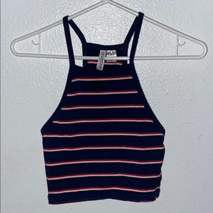 Red white and blue striped crop tank top
